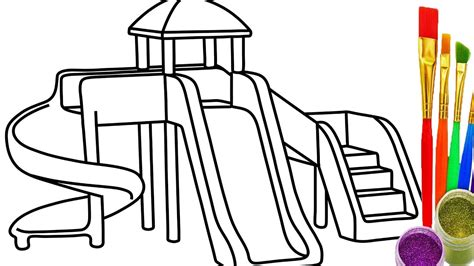 How To Draw Sliding Playground Kid Coloring Pages For Playground Coloring Pages