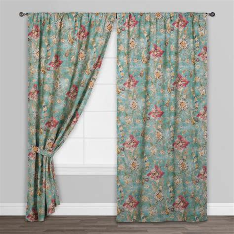 Concealed Tab Curtains Aqua Genevieve Cotton Concealed Tab Top Curtains Set Of 2 World Market