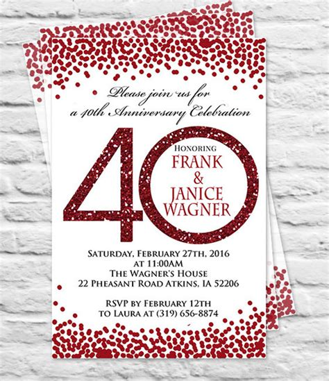 40th wedding anniversary invitation templates 25 anniversary invitation templates free sle