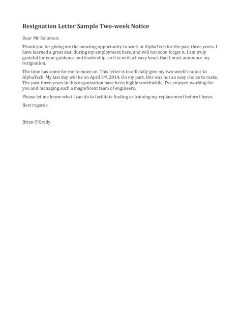 Resignation Letter 2 Weeks Exle Two Weeks Notice Template Vnzgames