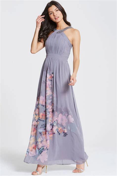 grey floral print chiffon maxi dress from uk