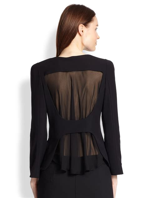 Sheer Jacket armani sheer back cady jacket in black lyst