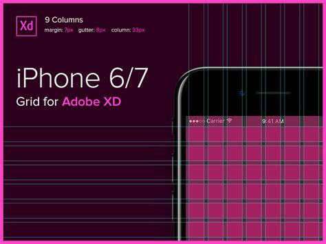 iphone 6 grid 6 10 column by dmytro kovalenko dribbble iphone 6 7 grid for adobe xd uxfree com