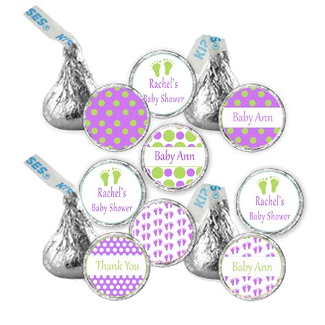 216 Hershey Kiss Stickers Personalized Polka Dots Baby Feet Girl Baby Shower Labels Personalized Hershey Kisses Stickers Template