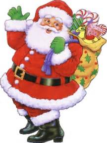 Cheery father christmas waving goodbye as he prepares to slide down