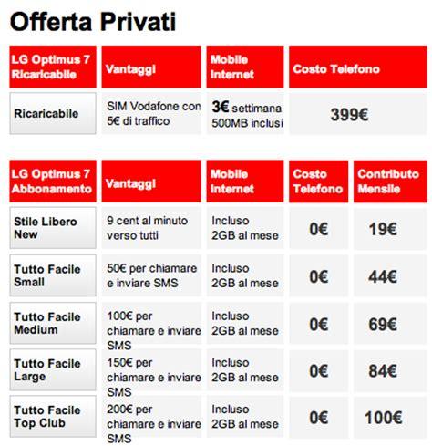 vodafone mobile tariffe lg optimus 7 a 399 con vodafone 187 sostariffe it