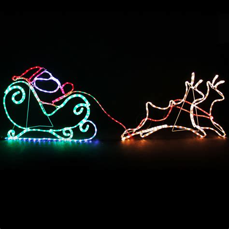 large animated santa train rope lights silhouette outdoor