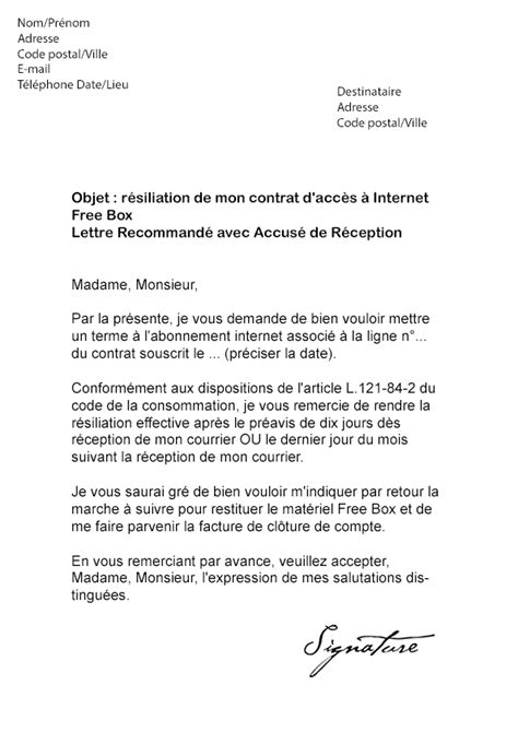 Exemple De Lettre Resiliation Modele Lettre Resiliation Box Document