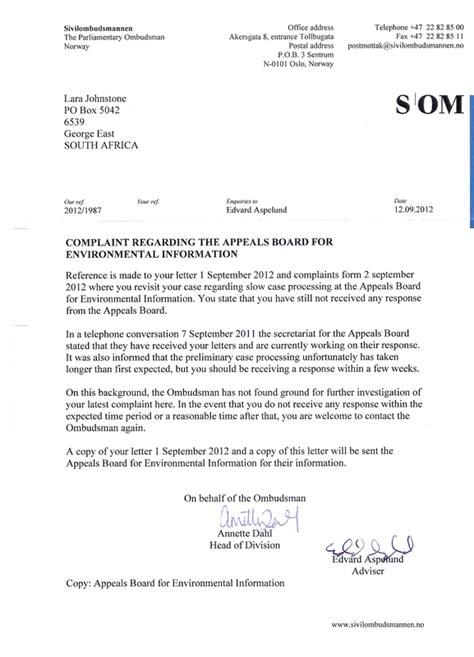 Complaint Response Letter Ombudsman Parl Ombudsman Complaint Env Appeals Board Media Env Censorship 2012 1987 Radical