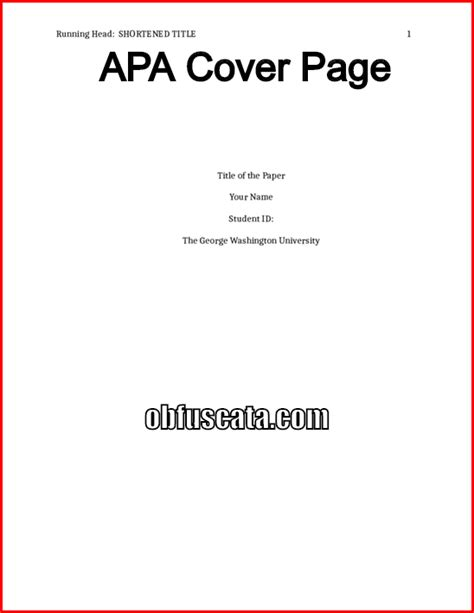 How To Make A Cover Page For A Paper - apa cover page