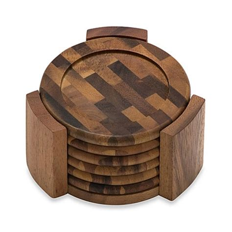 bed bath and beyond coasters buy lipper international acacia coasters set of 6 from bed bath beyond