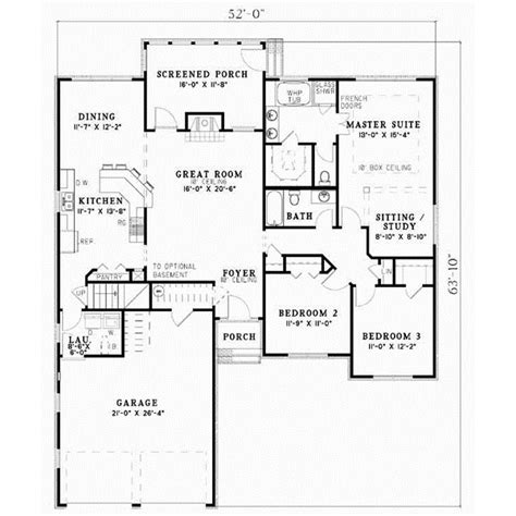 415 sq ft traditional house plan 3 bedrooms 2 bath 1732 sq ft