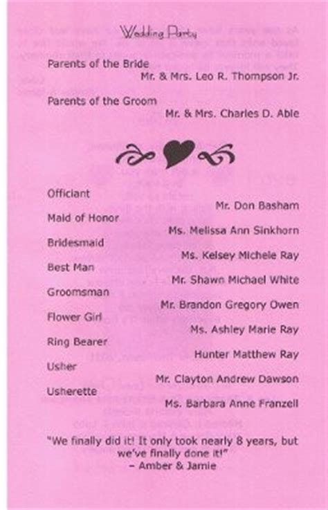 what goes on a wedding program what information goes in the wedding program other than