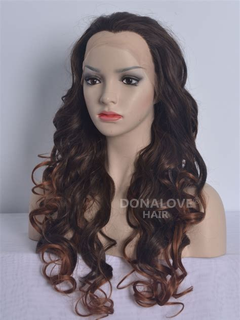 waist length ombre brown ombre 30 waist length wavy synthetic lace wig