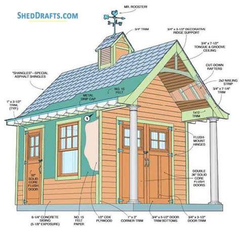 garden shed  porch building plans blueprints