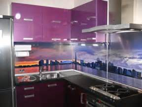modern backsplashes for kitchens colorful glass backsplash ideas adding digital prints to