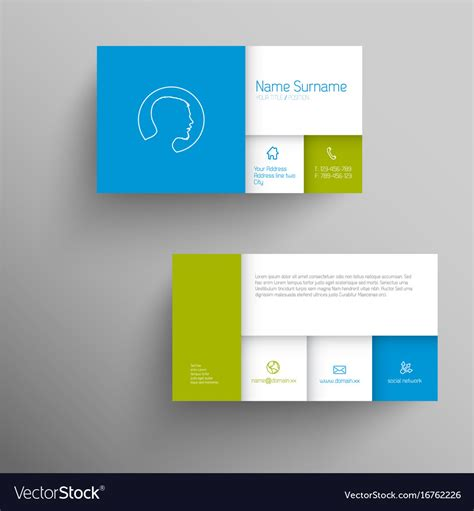 Green Business Card Template Vector by Modern Blue Green Business Card Template Vector Image