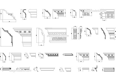 cornices and mouldings for facades dwg free cad blocks