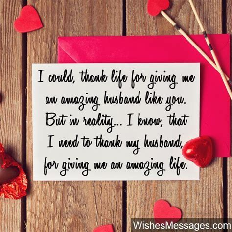 Sweet thank you note for husband heart Valentines Day card