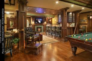 Best Flooring For Home Gym In Basement - pub bar fireplace and pool table traditional basement new york by carisa mahnken