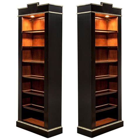 pair of mint condition black lacquer silver leaf display - Black Lacquer Bookshelves