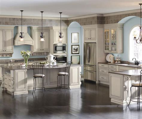 French Country Kitchen Island cream cabinets with glaze diamond cabinetry