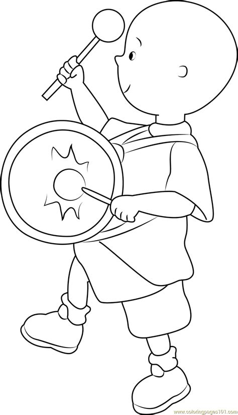 caillou coloring pages pdf caillou playing drums coloring page free caillou