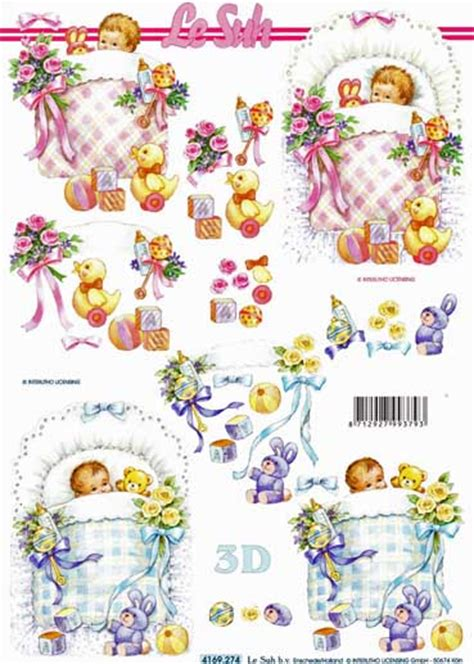 new baby boy 3d decoupage sheet from le suh