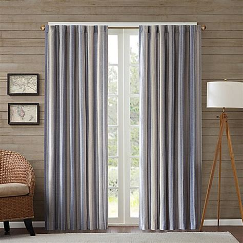 63 Inch Curtains Buy Edgewood Stripe 63 Inch Window Curtain Panel In Navy From Bed Bath Beyond