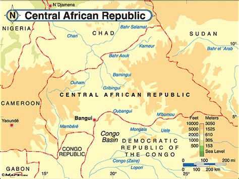 physical map of central africa central republic physical map by maps from