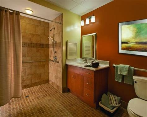 Bathroom Design Colors Wood Casework Warm Colors And Decorative Tiles Help