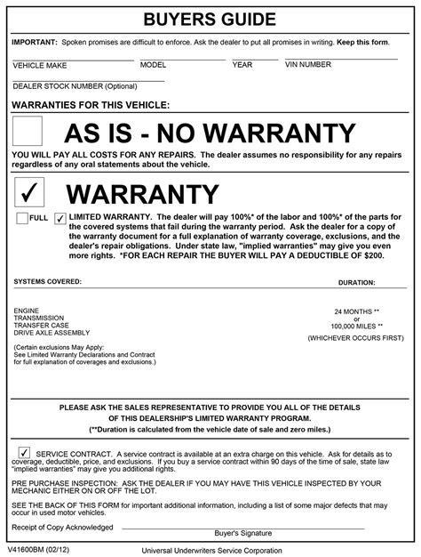 used car window sticker template car as is no warranty form car pictures car