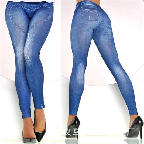 Hw Ripped Jegging Legging 2015 jean ripped stretchy denim slimming pesca high waist leg