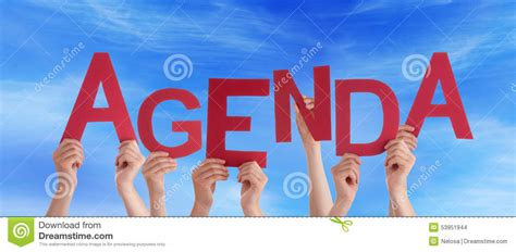 Character Building Letter many holding word agenda blue sky royalty
