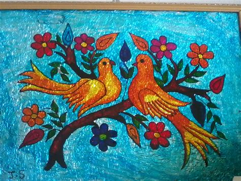 painting for arts and crafts glass painting birds