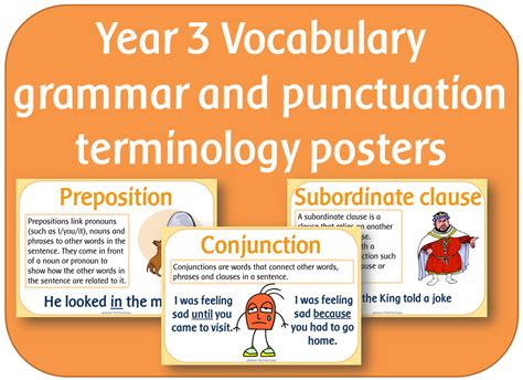 grammar and punctuation year year 3 vocabulary grammar and punctuation terminology posters by highwaystar teaching
