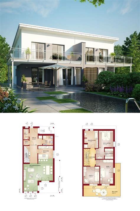 modernes doppelhaus mit pultdach grundriss haus