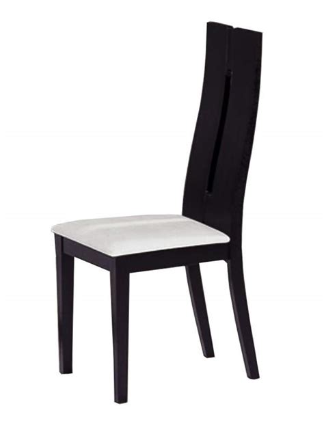 Dinette Chairs Ultra Contemporary Black Wood Dining Chair With White