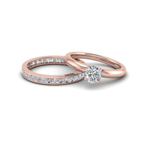 cut solitaire ring with eternity band in 14k