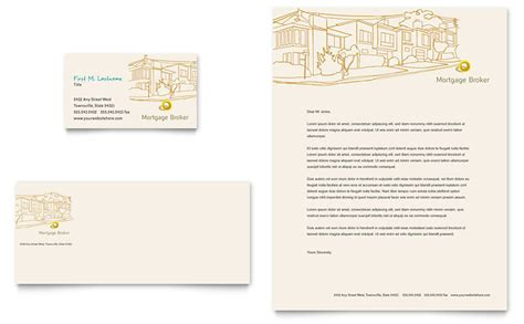 mortgage broker business card letterhead template word