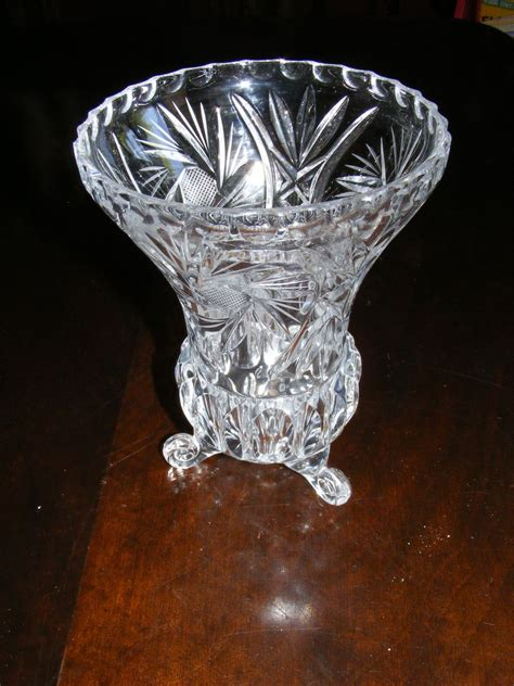 crystal  footed vase  eantiques  ruby lane
