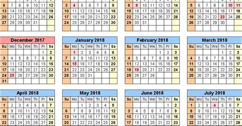 Calendar December 2017 To June 2018 School Calendar 2017 2018 Templates Rallypoint