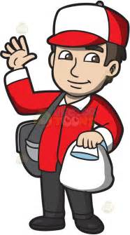 a friendly food delivery guy cartoon clipart vector toons