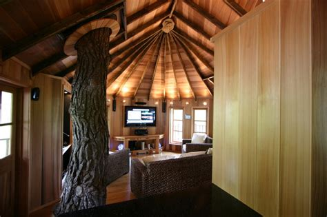 living room tree houses blue forest tree house