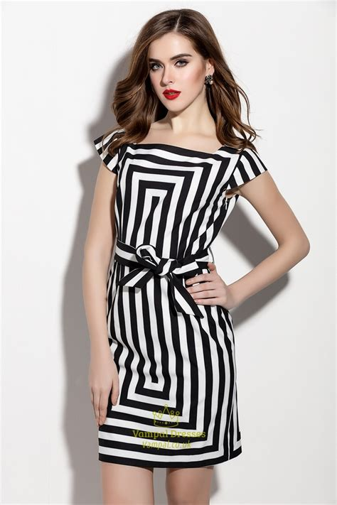 Sleeve Striped Dress white and black striped cap sleeve cocktail dress with