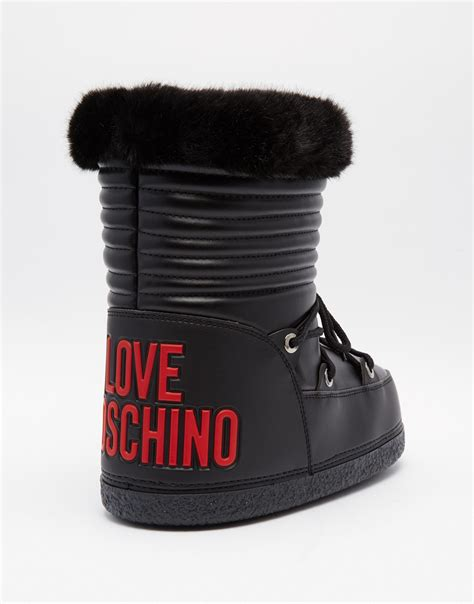moschino snow boots moschino black leather mid snow boots in black lyst