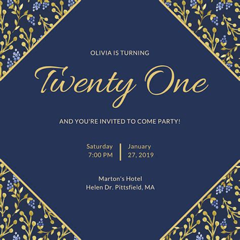 21st Birthday Invitation Card Template by Invitation Maker Design Your Own Custom Invitation Cards