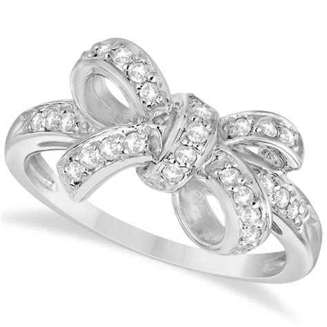 Set Of 3 Bow Ring pave set bow tie fashion ring 14k white gold 0 26