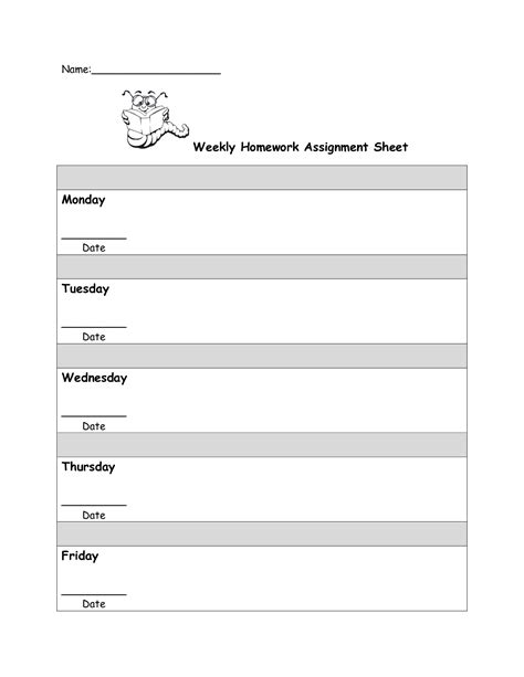assignment sheet template for students weekly homework check sheet