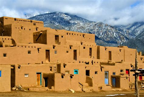 Pueblo Adobe Homes by The Taos Pueblo Is Located 70 Miles From Santa Fe In Taos